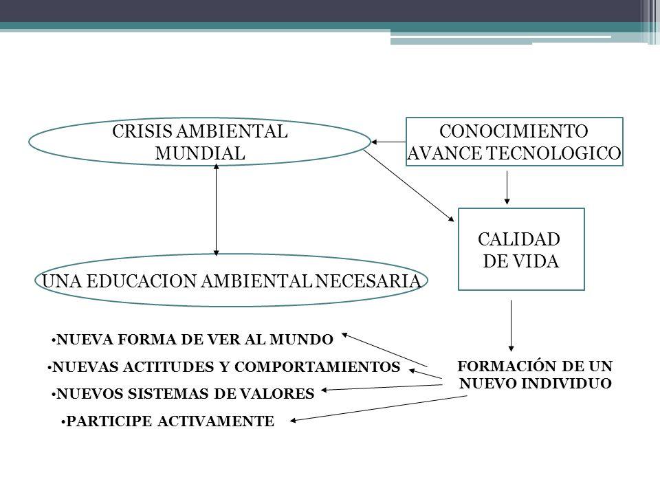 CRISIS AMBIENTAL MUNDIAL UNA EDUCACION AMBIENTAL NECESARIA CALIDAD DE VIDA NUEVAS ACTITUDES Y COMPORTAMIENTOS NUEVOS SISTEMAS DE VALORES NUEVA FORMA DE VER AL MUNDO FORMACIÓN DE UN NUEVO INDIVIDUO PARTICIPE ACTIVAMENTE CONOCIMIENTO AVANCE TECNOLOGICO