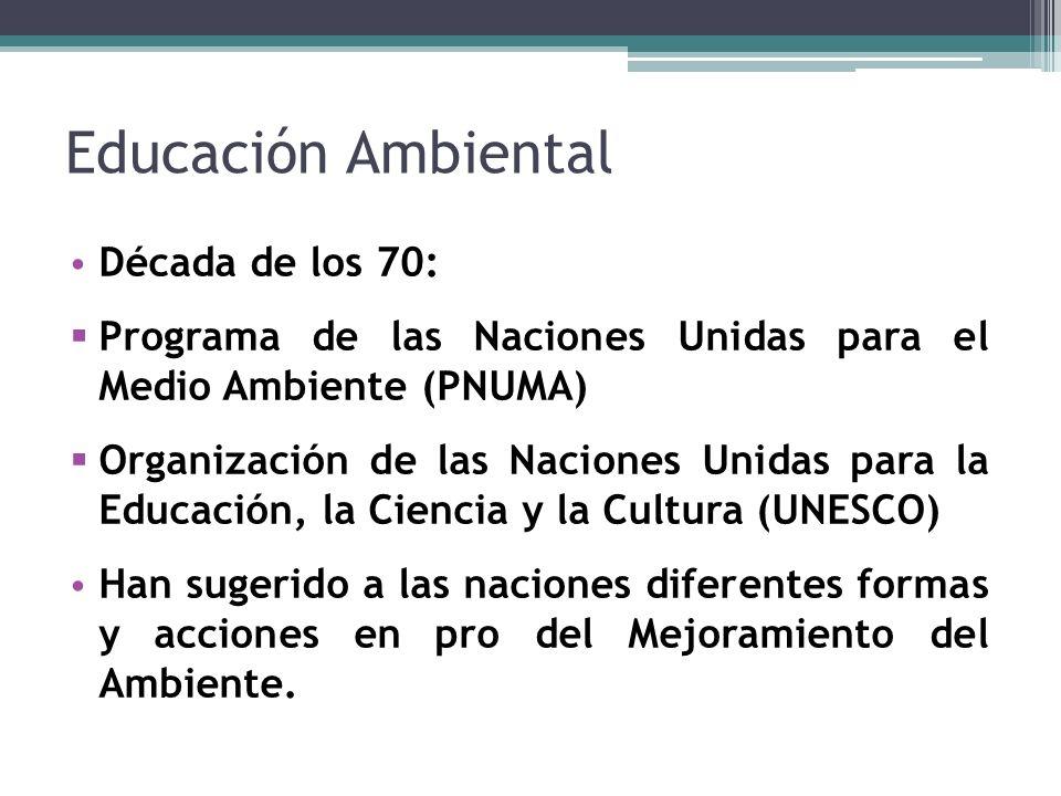Educación Ambiental Década de los 70: Programa de las Naciones Unidas para el Medio Ambiente (PNUMA) Organización de las Naciones Unidas para la Educación, la Ciencia y la Cultura (UNESCO) Han sugerido a las naciones diferentes formas y acciones en pro del Mejoramiento del Ambiente.