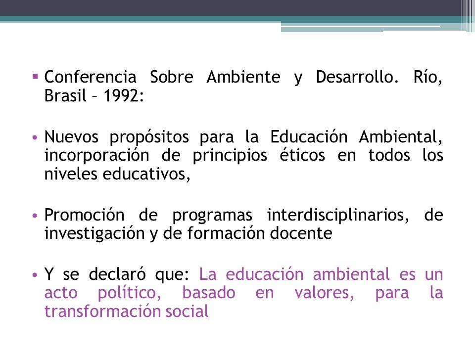 Conferencia Sobre Ambiente y Desarrollo. Río, Brasil – 1992: Nuevos propósitos para la Educación Ambiental, incorporación de principios éticos en todo