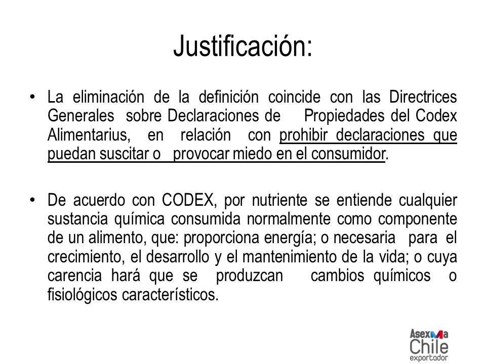 Justificación: La eliminación de la definición coincide con las Directrices Generales sobre Declaraciones de Propiedades del Codex Alimentarius, en re