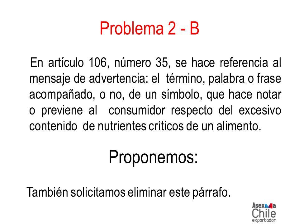 Problema 2 - B En artículo 106, número 35, se hace referencia al mensaje de advertencia: el término, palabra o frase acompañado, o no, de un símbolo,