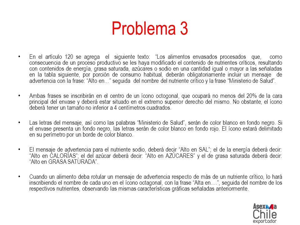 Problema 3 En el artículo 120 se agrega el siguiente texto: Los alimentos envasados procesados que, como consecuencia de un proceso productivo se les