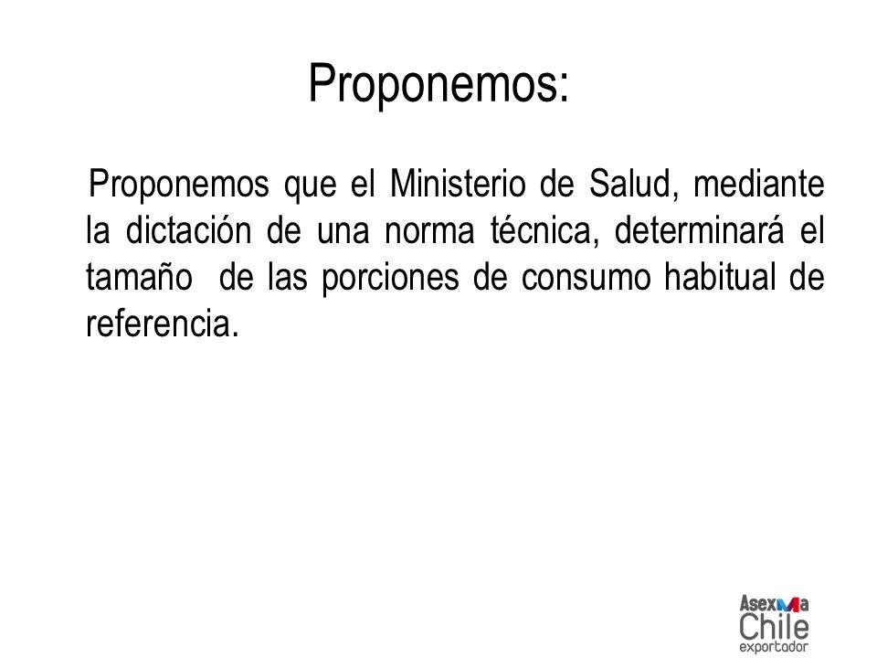 Proponemos: Proponemos que el Ministerio de Salud, mediante la dictación de una norma técnica, determinará el tamaño de las porciones de consumo habit