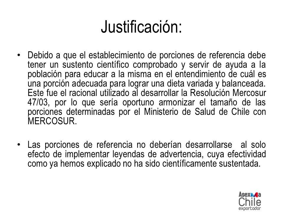 Justificación: Debido a que el establecimiento de porciones de referencia debe tener un sustento científico comprobado y servir de ayuda a la població