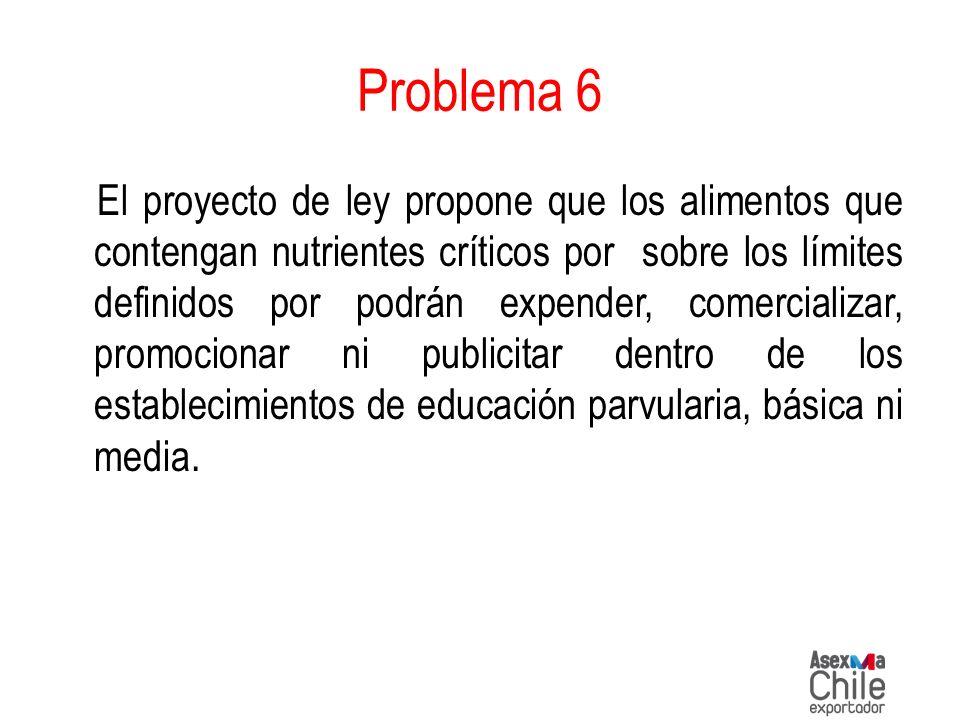 Problema 6 El proyecto de ley propone que los alimentos que contengan nutrientes críticos por sobre los límites definidos por podrán expender, comerci