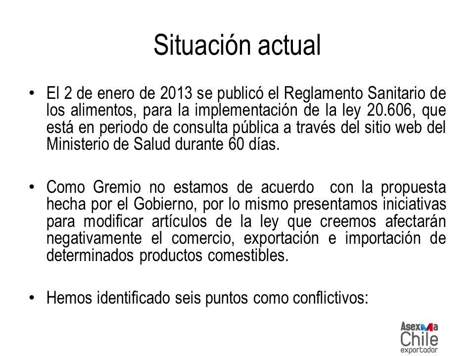 Situación actual El 2 de enero de 2013 se publicó el Reglamento Sanitario de los alimentos, para la implementación de la ley 20.606, que está en perio