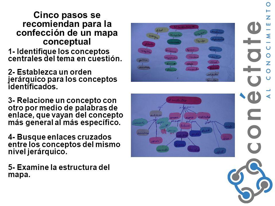 Cinco pasos se recomiendan para la confección de un mapa conceptual 1- Identifique los conceptos centrales del tema en cuestión.