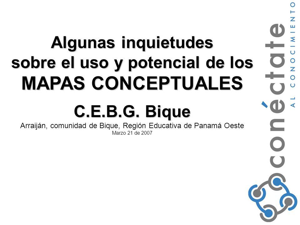 Algunas inquietudes sobre el uso y potencial de los MAPAS CONCEPTUALES C.E.B.G.