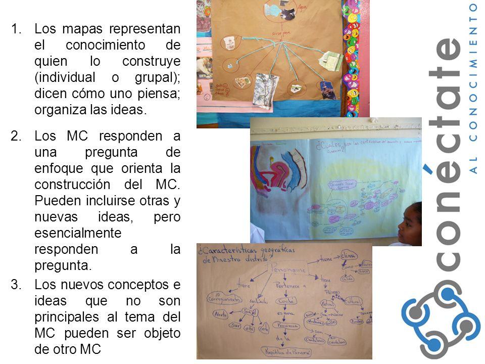 1.Los mapas representan el conocimiento de quien lo construye (individual o grupal); dicen cómo uno piensa; organiza las ideas.