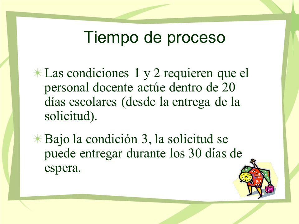 Tiempo de proceso Las condiciones 1 y 2 requieren que el personal docente actúe dentro de 20 días escolares (desde la entrega de la solicitud).