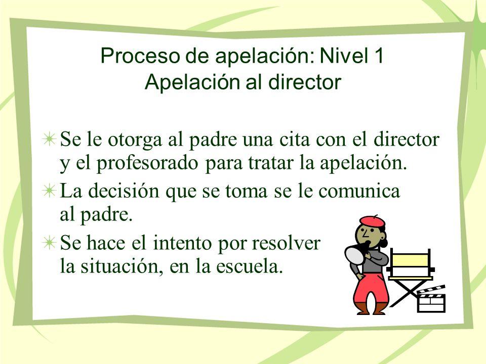 Proceso de apelación: Nivel 1 Apelación al director Se le otorga al padre una cita con el director y el profesorado para tratar la apelación.
