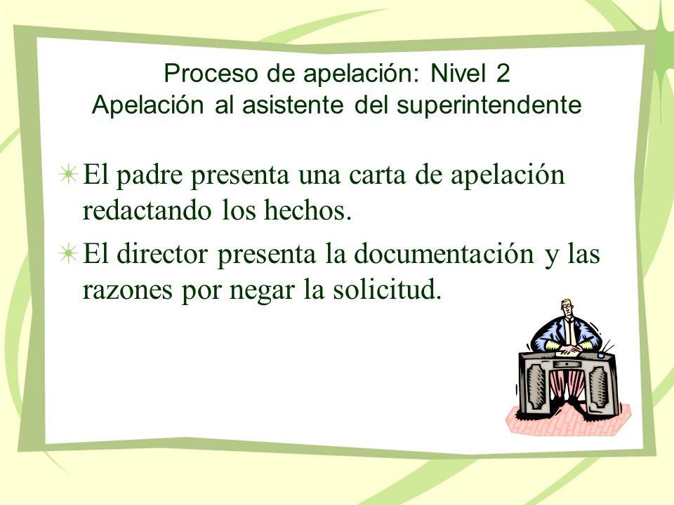 Proceso de apelación: Nivel 2 Apelación al asistente del superintendente El padre presenta una carta de apelación redactando los hechos.