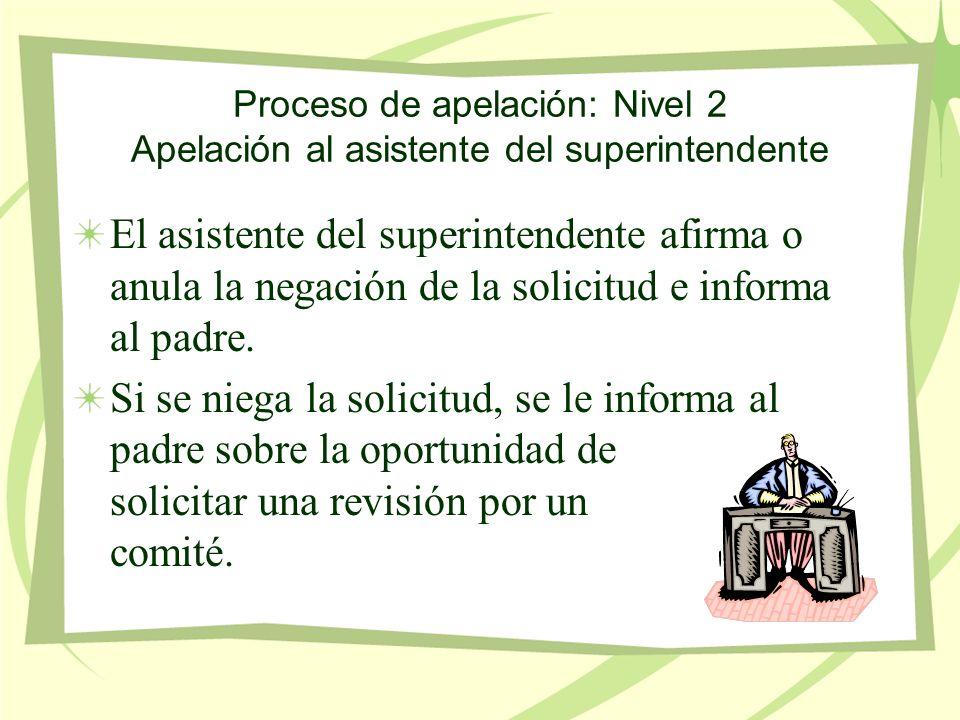 Proceso de apelación: Nivel 2 Apelación al asistente del superintendente El asistente del superintendente afirma o anula la negación de la solicitud e informa al padre.