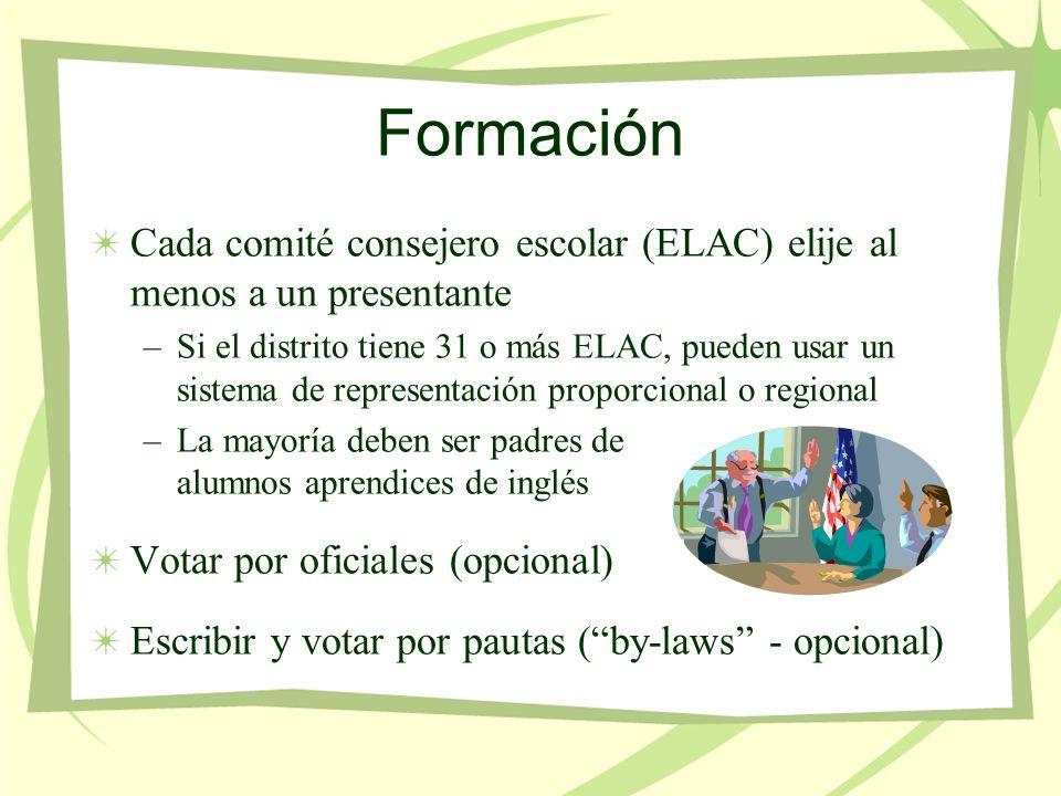 Formación Cada comité consejero escolar (ELAC) elije al menos a un presentante –Si el distrito tiene 31 o más ELAC, pueden usar un sistema de representación proporcional o regional –La mayoría deben ser padres de alumnos aprendices de inglés Votar por oficiales (opcional) Escribir y votar por pautas (by-laws - opcional)