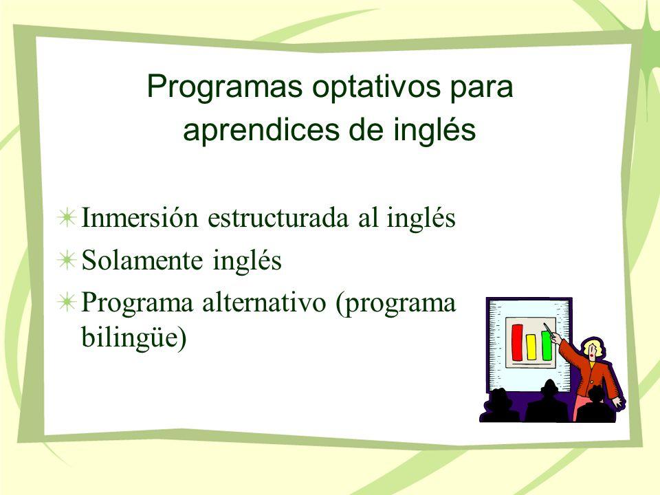 Programas optativos para aprendices de inglés Inmersión estructurada al inglés Solamente inglés Programa alternativo (programa bilingüe)