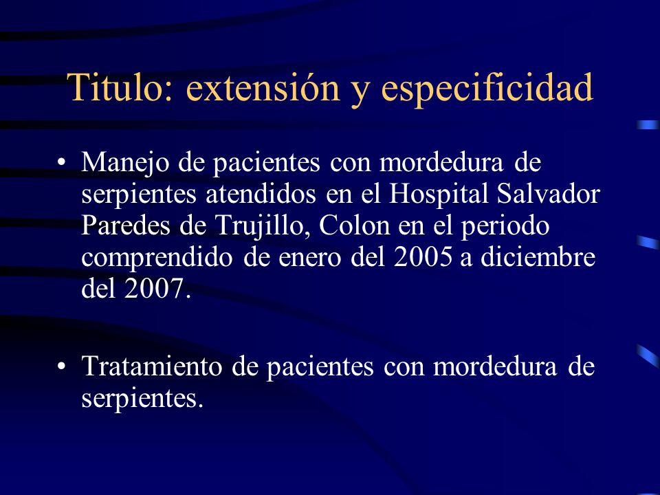 Titulo: extensión y especificidad Manejo de pacientes con mordedura de serpientes atendidos en el Hospital Salvador Paredes de Trujillo, Colon en el p
