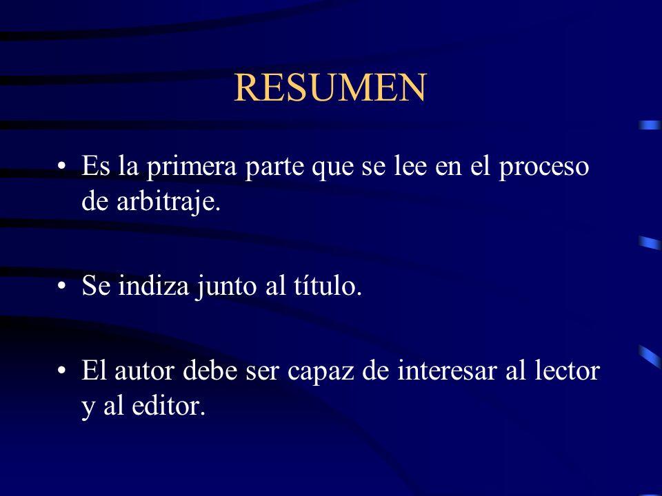 RESUMEN Es la primera parte que se lee en el proceso de arbitraje.