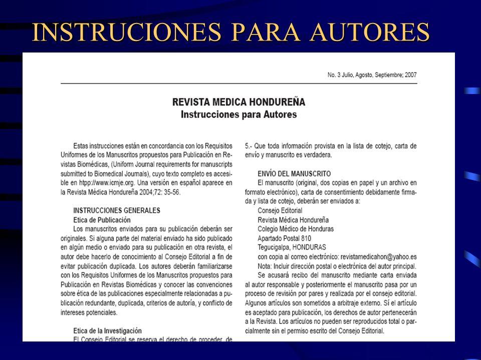 Escritura y Publicación de Artículos Biomédicos Título Instrucciones para autores.