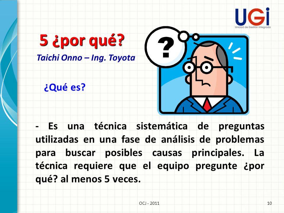 10OCJ - 2011 5 ¿por qué? Taichi Onno – Ing. Toyota ¿Qué es? - Es una técnica sistemática de preguntas utilizadas en una fase de análisis de problemas