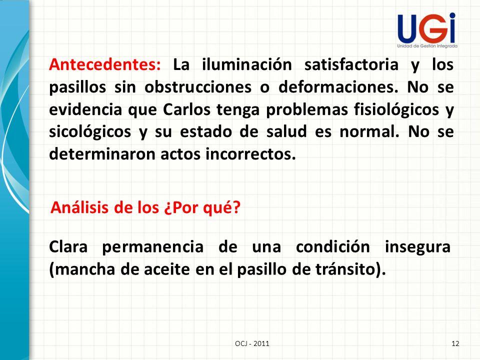 12OCJ - 2011 Antecedentes: La iluminación satisfactoria y los pasillos sin obstrucciones o deformaciones. No se evidencia que Carlos tenga problemas f