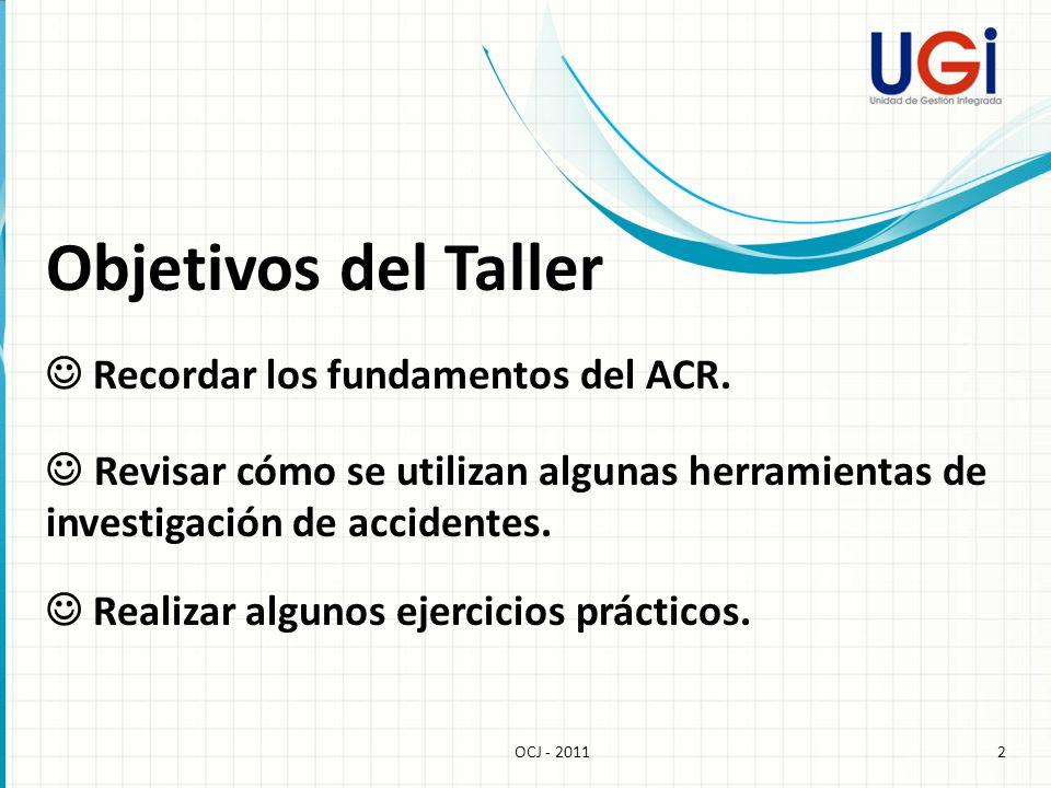 Objetivos del Taller Recordar los fundamentos del ACR. Revisar cómo se utilizan algunas herramientas de investigación de accidentes. 2OCJ - 2011 Reali