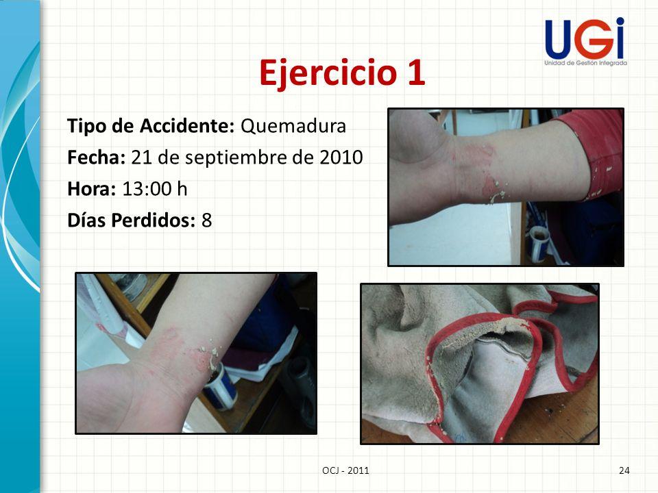 24OCJ - 2011 Ejercicio 1 Tipo de Accidente: Quemadura Fecha: 21 de septiembre de 2010 Hora: 13:00 h Días Perdidos: 8