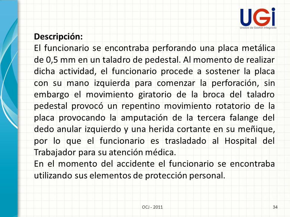 35OCJ - 2011 Acto Subestándar: 1.Operar inadecuadamente el equipo.