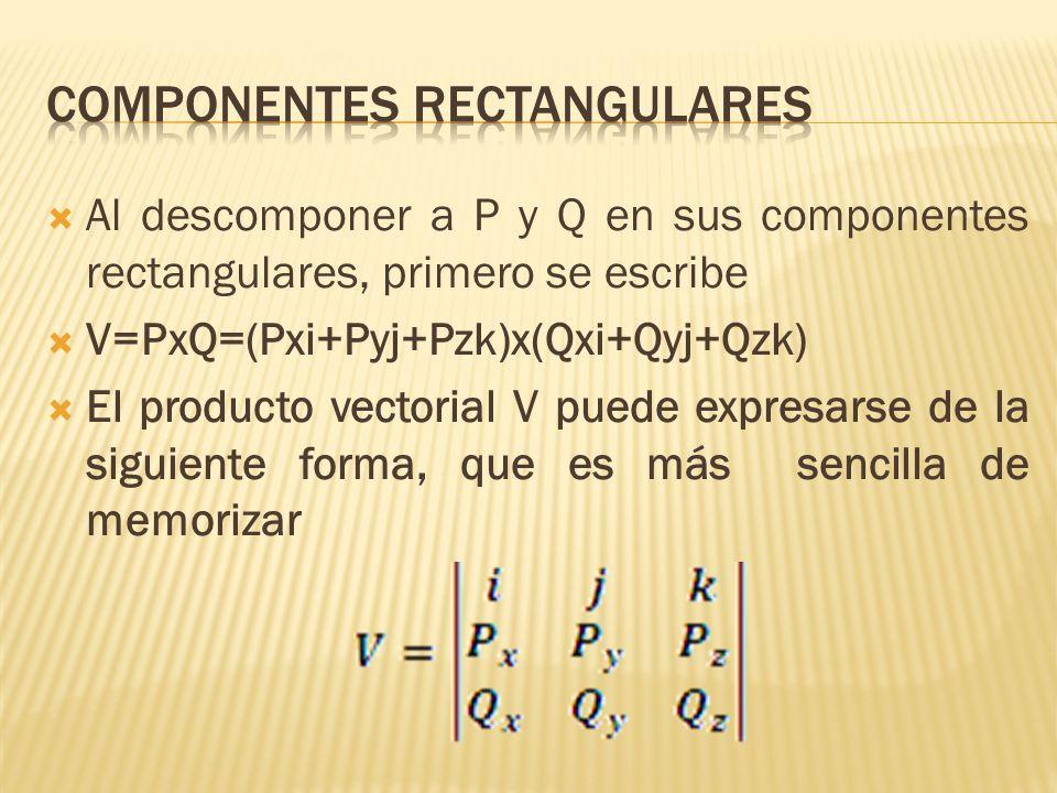Al descomponer a P y Q en sus componentes rectangulares, primero se escribe V=PxQ=(Pxi+Pyj+Pzk)x(Qxi+Qyj+Qzk) El producto vectorial V puede expresarse
