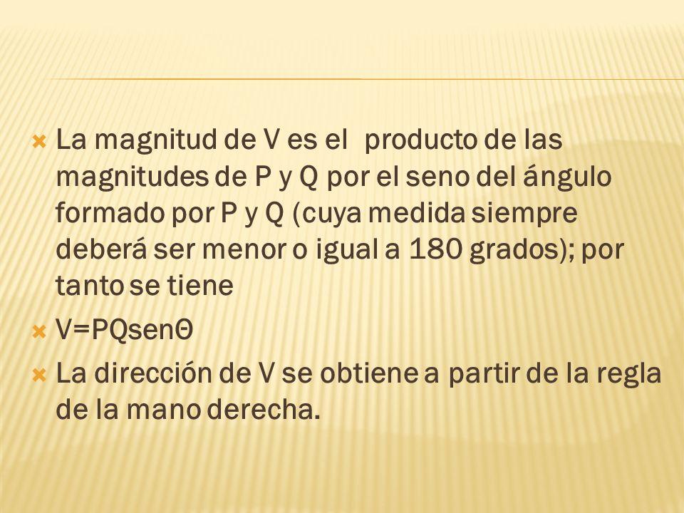 La magnitud de V es el producto de las magnitudes de P y Q por el seno del ángulo formado por P y Q (cuya medida siempre deberá ser menor o igual a 18