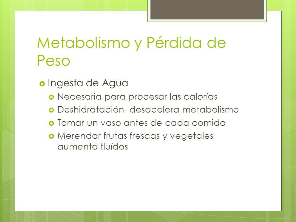 Metabolismo y Pérdida de Peso Ingesta de Agua Necesaria para procesar las calorías Deshidratación- desacelera metabolismo Tomar un vaso antes de cada