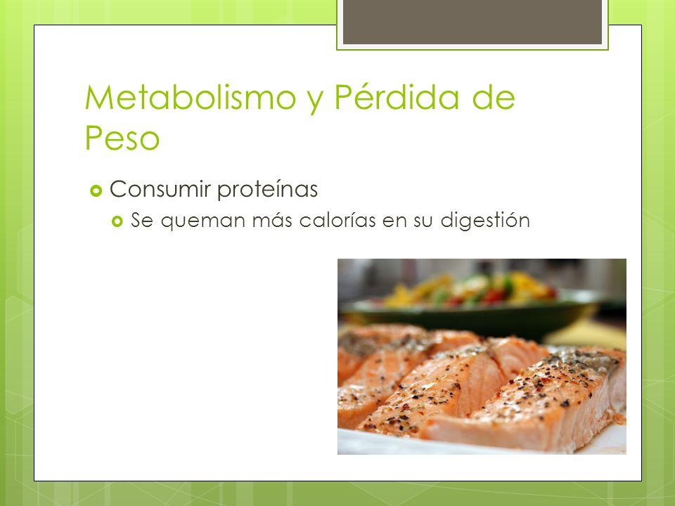 Metabolismo y Pérdida de Peso Consumir proteínas Se queman más calorías en su digestión