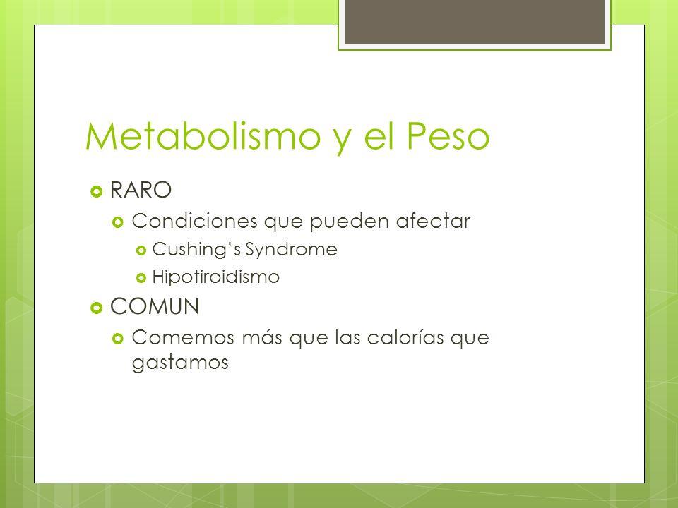 Metabolismo y el Peso RARO Condiciones que pueden afectar Cushings Syndrome Hipotiroidismo COMUN Comemos más que las calorías que gastamos