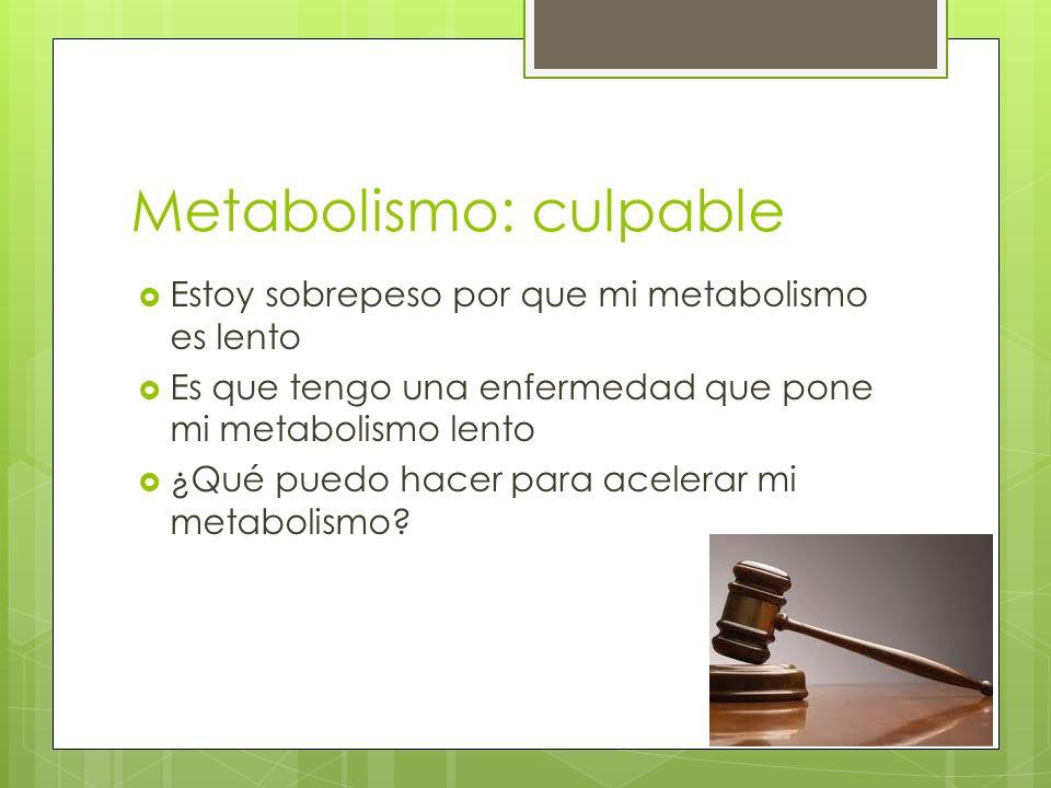 Metabolismo: culpable Estoy sobrepeso por que mi metabolismo es lento Es que tengo una enfermedad que pone mi metabolismo lento ¿Qué puedo hacer para