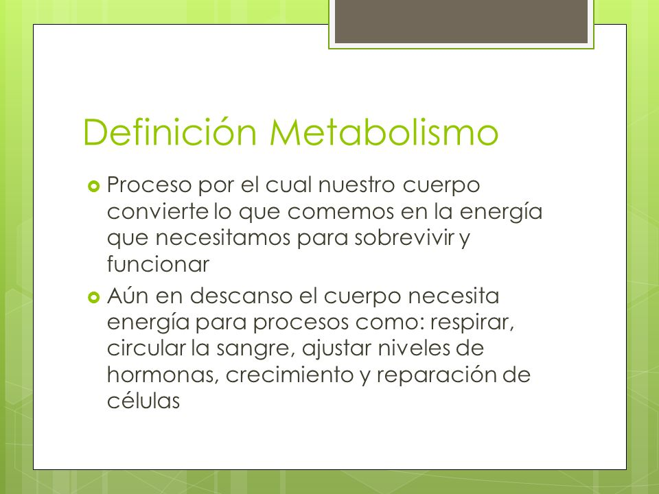 Factores que afectan el Metabolismo Tamaño y composición del cuerpo Personas más grandes o con más músculos queman más calorías Género Hombres usualmente tienen menos grasa y más masa muscular que las mujeres por lo que queman más calorías Edad Al envejecer la masa muscular disminuye, disminuyendo la quema de calorías