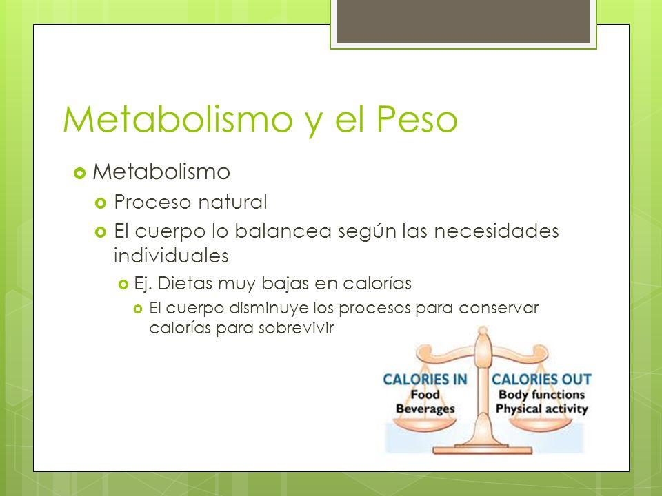 Metabolismo y el Peso Metabolismo Proceso natural El cuerpo lo balancea según las necesidades individuales Ej. Dietas muy bajas en calorías El cuerpo