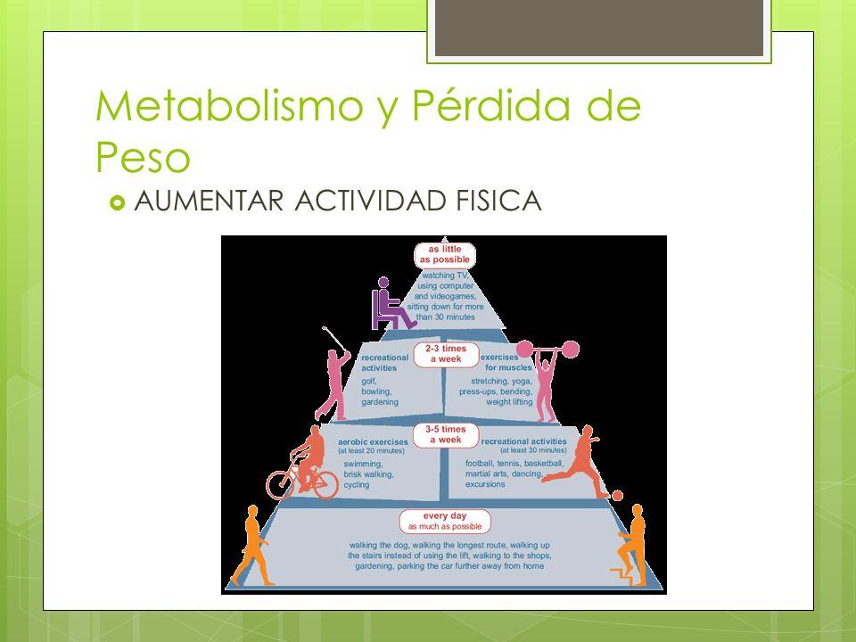 Metabolismo y Pérdida de Peso Ejercicio aeróbico Más efectivo para quemar calorías Alta intensidad Ejercicios de fortaleza Contraresta la pérdida de músculo relacionada con la edad Músculo quema más calorías que grasa 1# usa 6 cal para sostenerse y la grasa 2 cal Estilo de vida activo