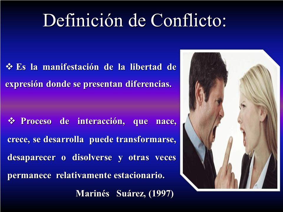 Definición de Conflicto: Proceso de interacción, que nace, crece, se desarrolla puede transformarse, desaparecer o disolverse y otras veces permanece relativamente estacionario.