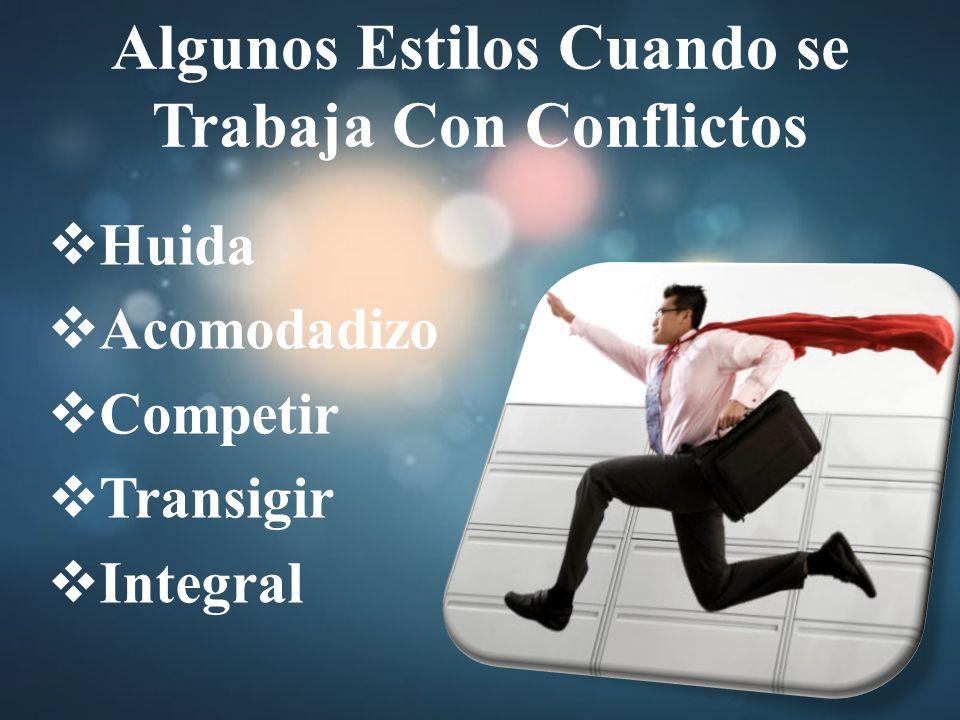 Algunos Estilos Cuando se Trabaja Con Conflictos Huida Acomodadizo Competir Transigir Integral