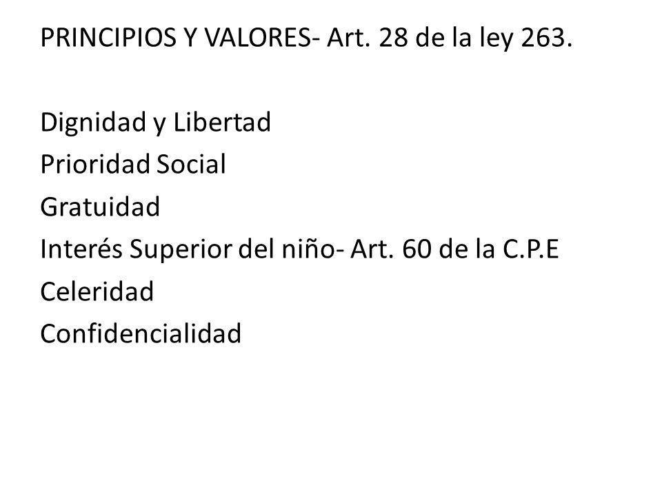 PRINCIPIOS Y VALORES- Art. 28 de la ley 263. Dignidad y Libertad Prioridad Social Gratuidad Interés Superior del niño- Art. 60 de la C.P.E Celeridad C