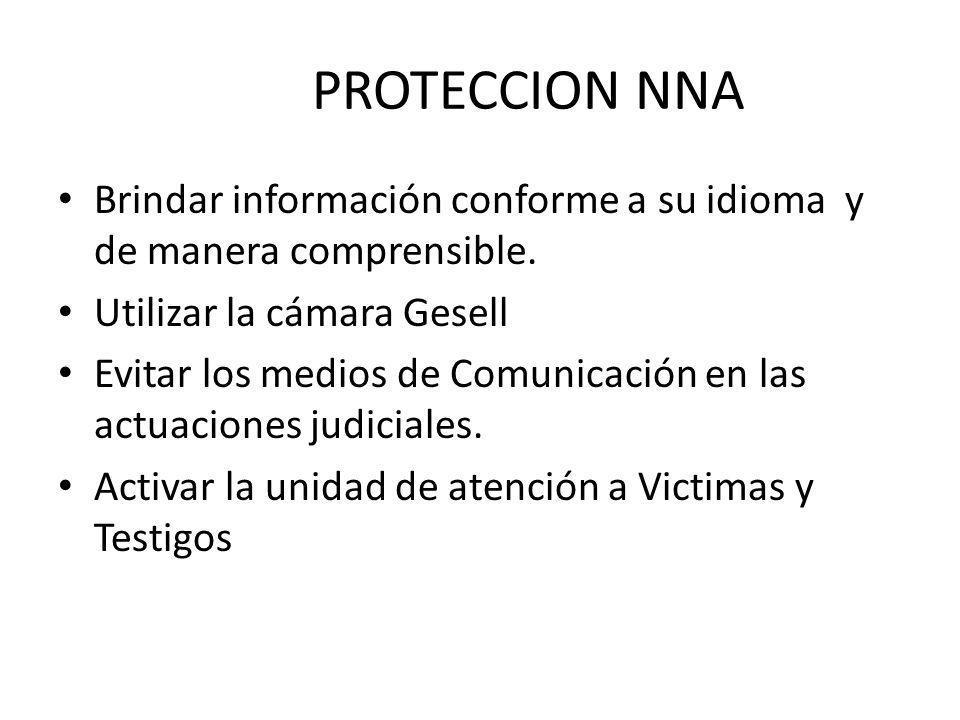 PROTECCION NNA Brindar información conforme a su idioma y de manera comprensible. Utilizar la cámara Gesell Evitar los medios de Comunicación en las a
