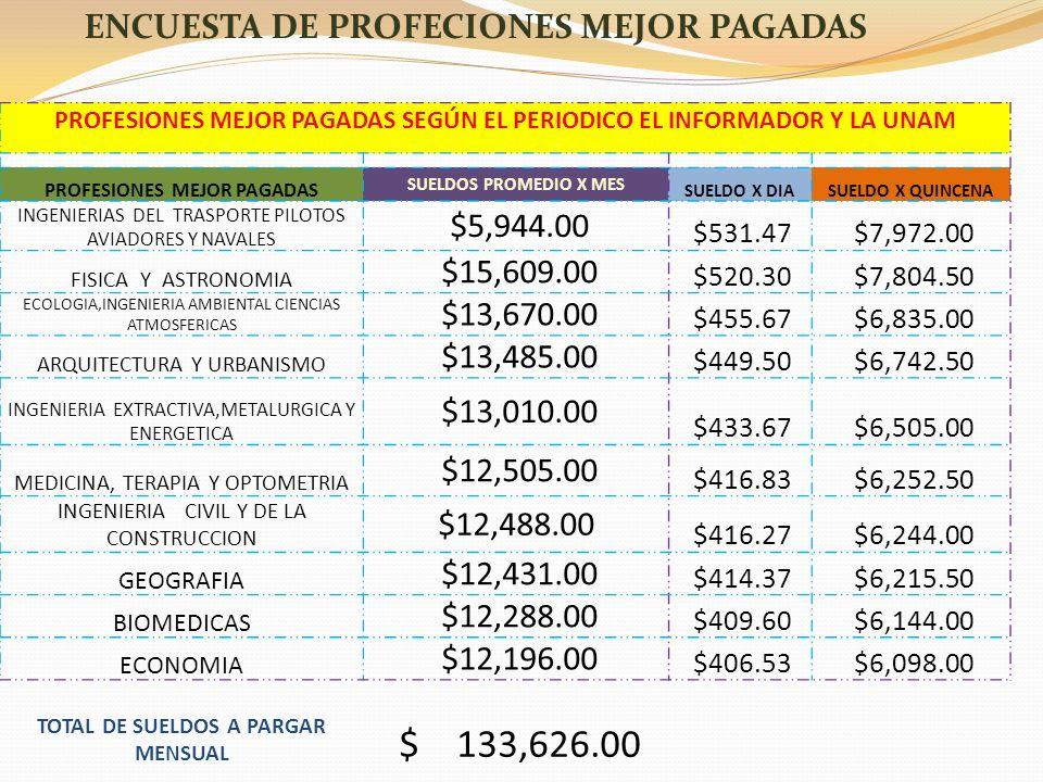 PROFESIONES MEJOR PAGADAS SEGÚN EL PERIODICO EL INFORMADOR Y LA UNAM PROFESIONES MEJOR PAGADAS SUELDOS PROMEDIO X MES SUELDO X DIASUELDO X QUINCENA IN