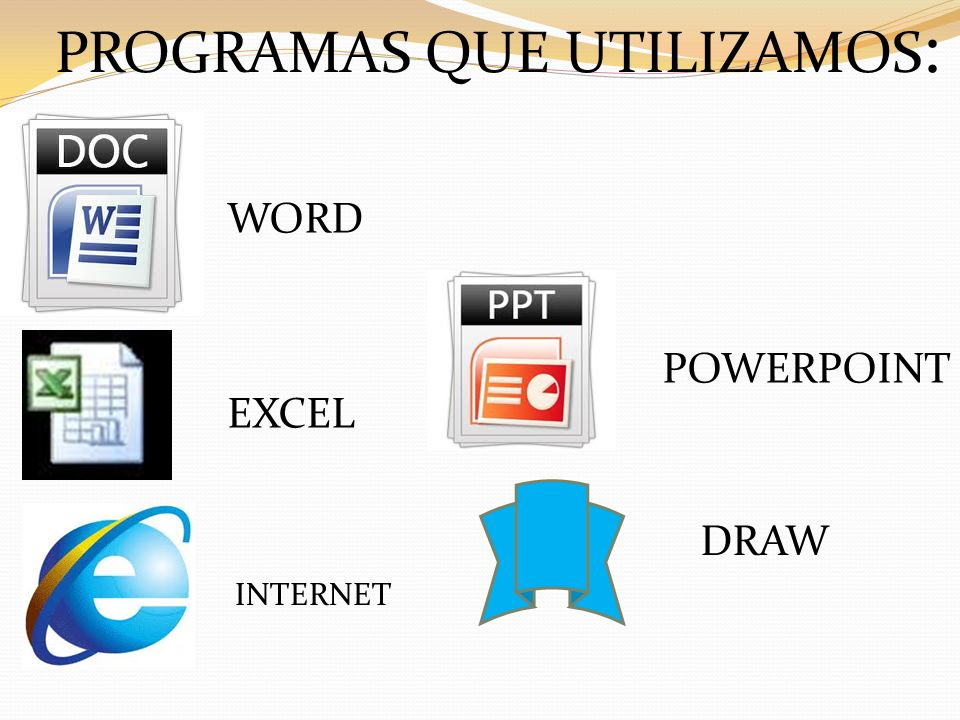 WORD EXCEL INTERNET POWERPOINT DRAW PROGRAMAS QUE UTILIZAMOS :