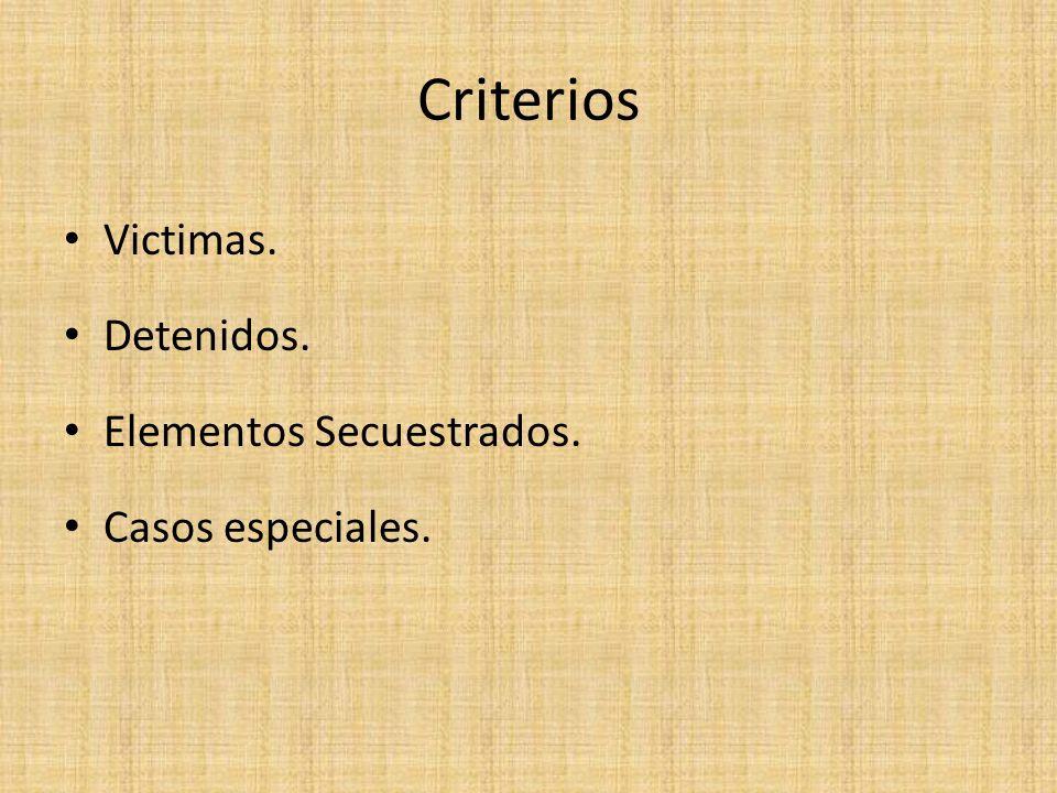 Criterios Victimas. Detenidos. Elementos Secuestrados. Casos especiales.