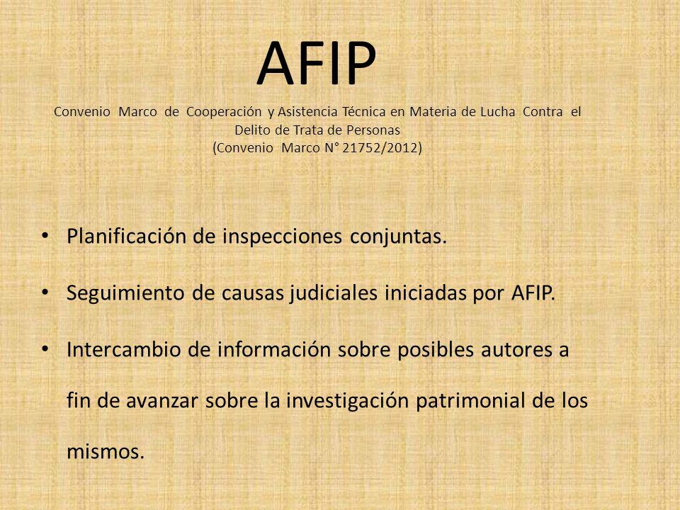 AFIP Convenio Marco de Cooperación y Asistencia Técnica en Materia de Lucha Contra el Delito de Trata de Personas (Convenio Marco N° 21752/2012) Plani