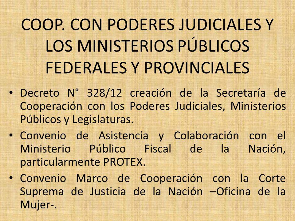 COOP. CON PODERES JUDICIALES Y LOS MINISTERIOS PÚBLICOS FEDERALES Y PROVINCIALES Decreto N° 328/12 creación de la Secretaría de Cooperación con los Po