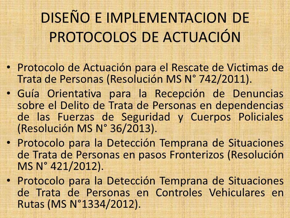 DISEÑO E IMPLEMENTACION DE PROTOCOLOS DE ACTUACIÓN Protocolo de Actuación para el Rescate de Victimas de Trata de Personas (Resolución MS N° 742/2011)