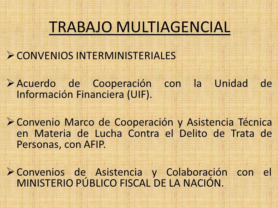 TRABAJO MULTIAGENCIAL CONVENIOS INTERMINISTERIALES Acuerdo de Cooperación con la Unidad de Información Financiera (UIF). Convenio Marco de Cooperación