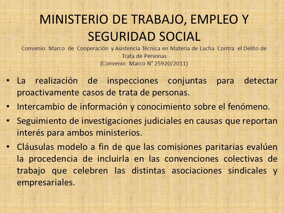 MINISTERIO DE TRABAJO, EMPLEO Y SEGURIDAD SOCIAL Convenio Marco de Cooperación y Asistencia Técnica en Materia de Lucha Contra el Delito de Trata de P
