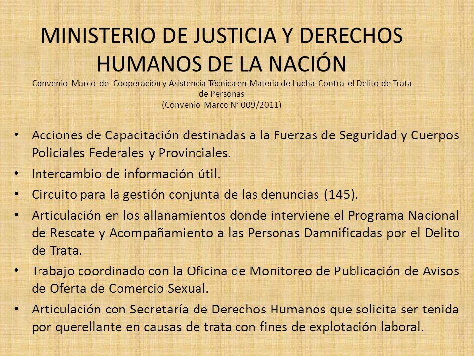 MINISTERIO DE JUSTICIA Y DERECHOS HUMANOS DE LA NACIÓN Convenio Marco de Cooperación y Asistencia Técnica en Materia de Lucha Contra el Delito de Trat