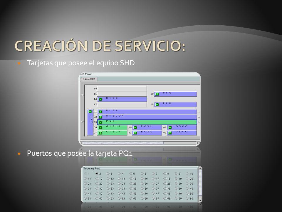 Tarjetas que posee el equipo SHD Puertos que posee la tarjeta PQ1